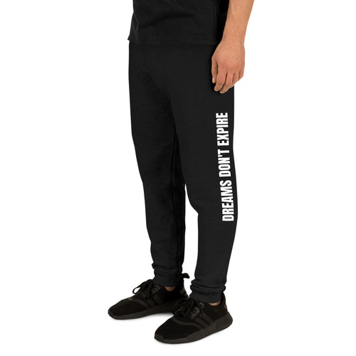 Dreams Don't Expire Unisex Joggers Black on male model