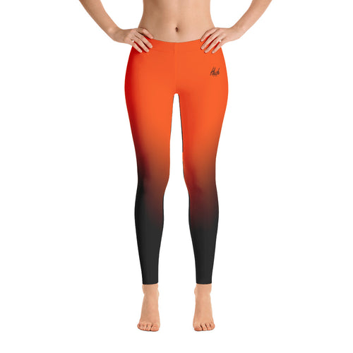 Orange Ombre Leggings Front