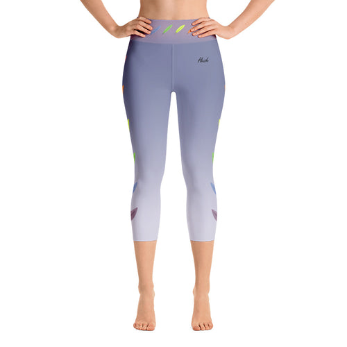 Feather Yoga Capri Leggings Front