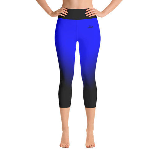 Hush Attire Blue Ombre Yoga Capri Leggings Front