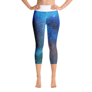 Blue Scuff Yoga Capri Leggings Front