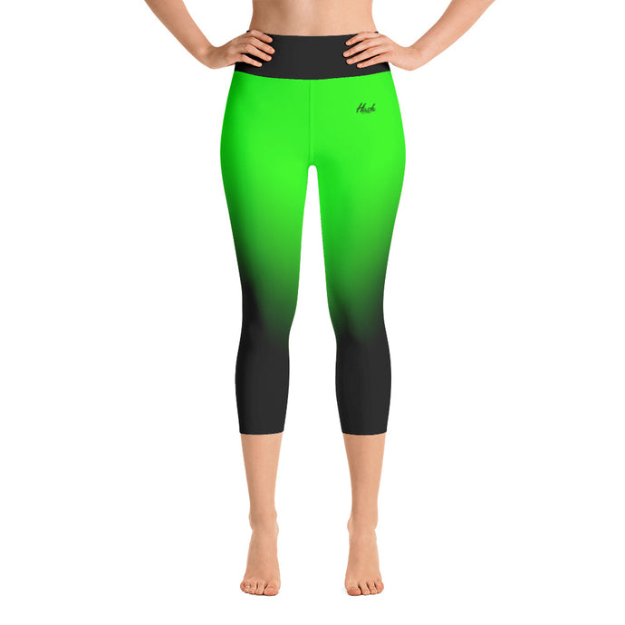 Green Ombre Yoga Capri Leggings Front