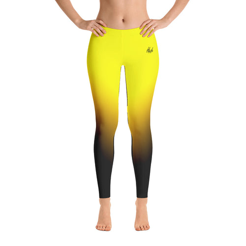 Hush Attire Yellow Ombre Leggings Front