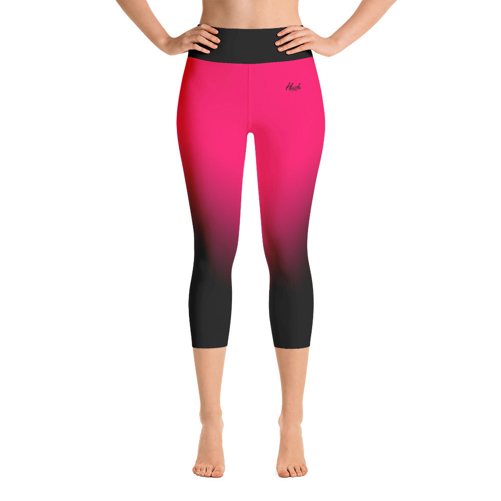 Hot Pink Ombre Yoga Capri Leggings Front