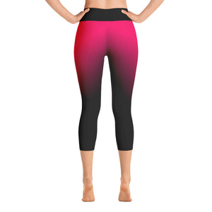 Hot Pink Ombre Yoga Capri Leggings Back