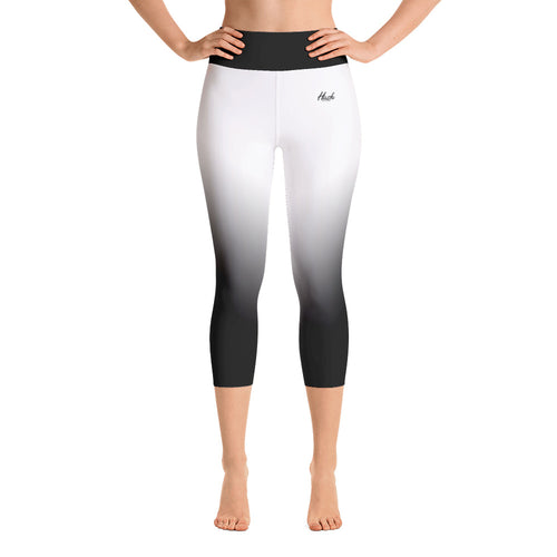 Hush Attire White Ombre Yoga Capri Leggings Front