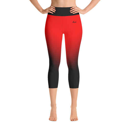 Red Ombre Yoga Capri Leggings Front
