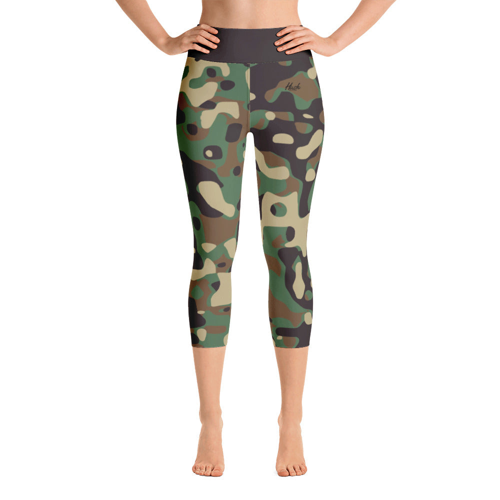 Hush Attire Camo Yoga Capri Leggings Front