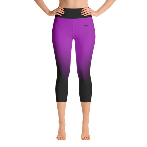 Purple Ombre Yoga Capri Leggings Front