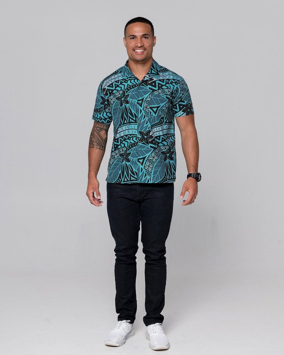 Kanoa Mens Short Sleeve Shirt - Moana Blue