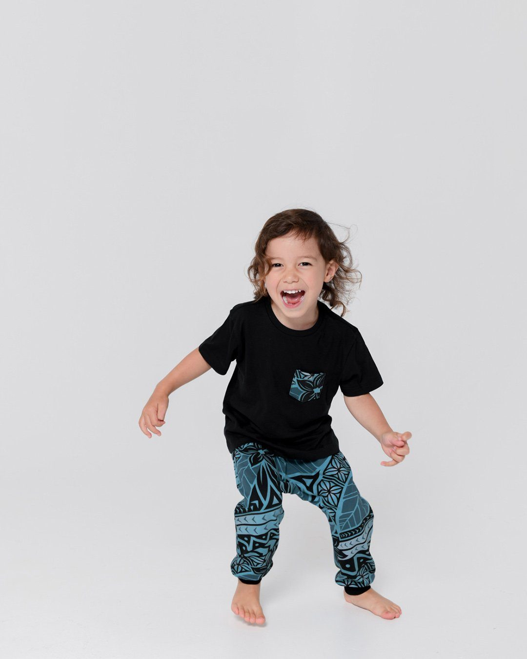 Tama Kids Tee & Drop Pants Set - Moana Blue