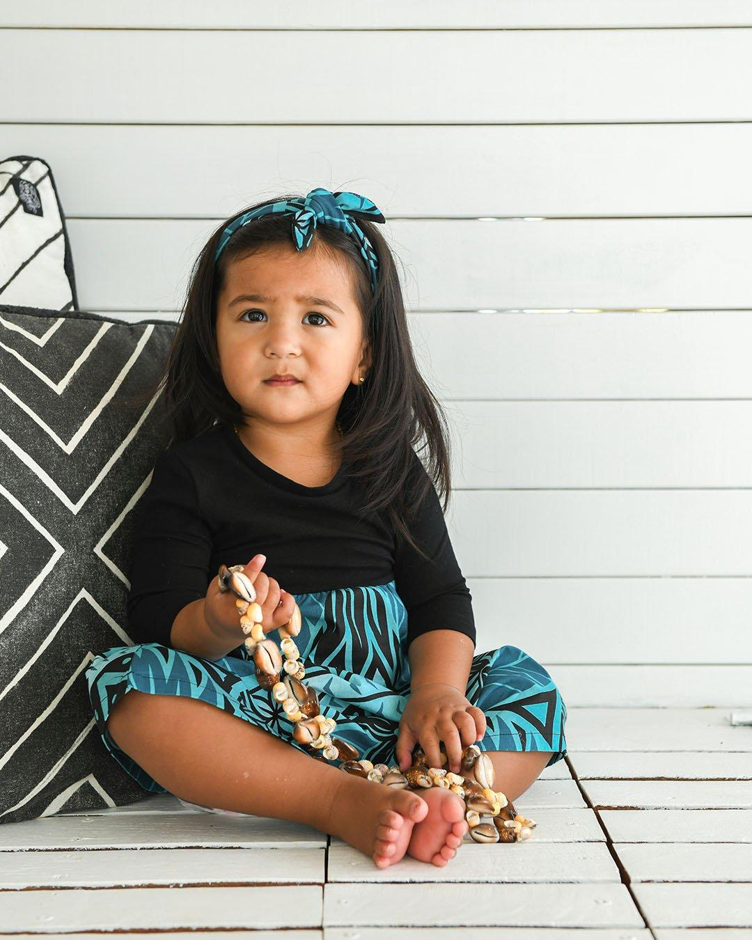 Tehani Baby 3/4 Sleeve Dress - Moana Blue