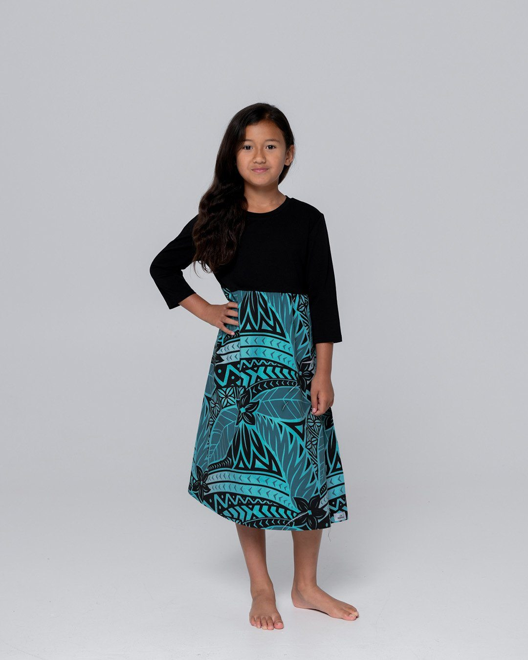 Tehani Kids 3/4 Sleeve Dress - Moana Blue