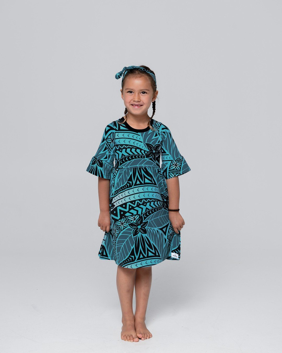 Tiare Kids Frill Sleeve Dress - Moana Blue