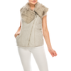 Urban Diction Women Grey Faux Fur Neckline Vest W/ Faux Fur Lining - W.A.Y