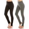 Urban Diction 2 Pack Full-Length Cotton Stretch Leggings (Black- Heather Gray) | Urban Diction | Leggings