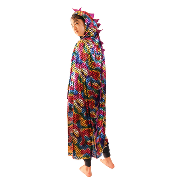 Kids Size Colorful Dinosaur/Dragon Scales Hooded Cape - W.A.Y