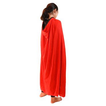 Kids Size Solid Red Cape with Hood - W.A.Y
