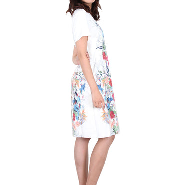Way Beyoung Women's Short Sleeve Stretch Flower Print Dress - W.A.Y