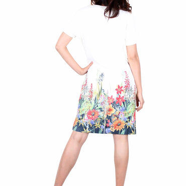 Way Beyoung Women's Short Sleeve Stretch Blossom Floral Print Dress - W.A.Y
