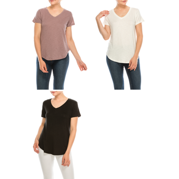 Urban Diction 3 Pack Women's Comfort Stretch Solid V-Neck Short Sleeve T Shirts | Urban Diction | Knits & Tees