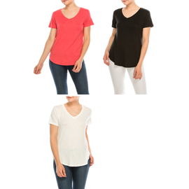 Urban Diction 3 Pack Women's Comfort Stretch Solid V neck  Short Sleeve T Shirts Regular and Plus Size - W.A.Y