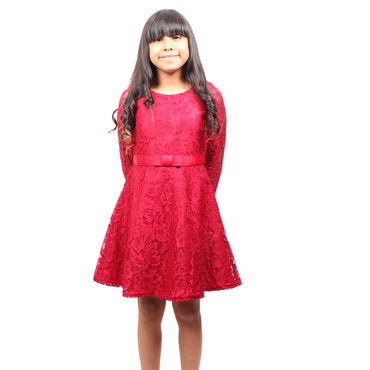 Girl Story - Red Long Sleeve Floral Lace Stretch Knee High Girls Dress - W.A.Y