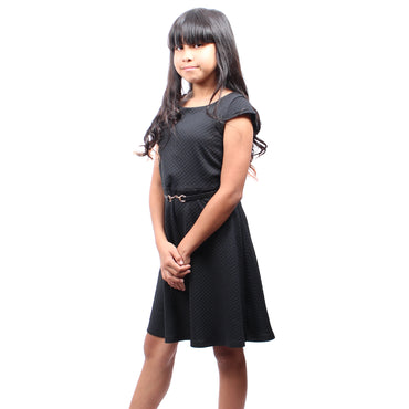 Girl Story - Scoop Neck Short Sleeve Stretch Solid Knee High Girls Dress with Belt - W.A.Y