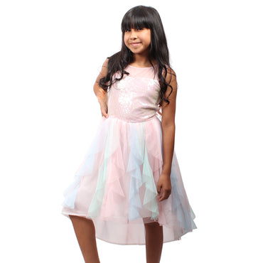 Girl Story - Light Pink Colorful Watercolor Short Sleeve Tutu Girls Dress - W.A.Y
