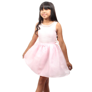 Girl Story - Pink Tutu Short Sleeve Knee High Girls Dress - W.A.Y