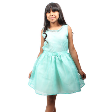 Girl Story - Aqua Blue Tutu Short Sleeve Knee High Girls Princess Dress - W.A.Y