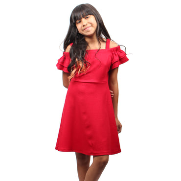 Girl Story - Red Ruffle Short Sleeves Knee High Girls Dress | Girl Story | Girls Dress
