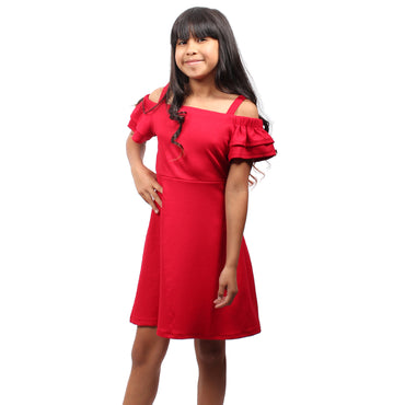 Girl Story - Red Ruffle Short Sleeves Knee High Girls Dress - W.A.Y
