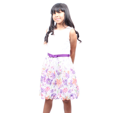 Girls Story - White with Colorful Embroidered Flowers With Waist Tie Knee High Girls Dress | Girl Story | Girls Dress