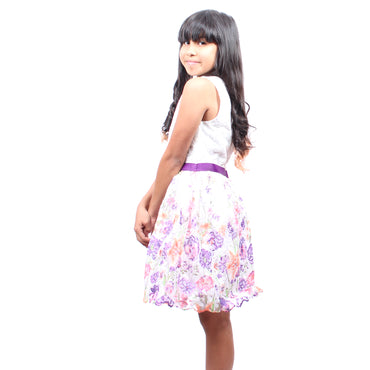 Girls Story - White with Colorful Embroidered Flowers With Waist Tie Knee High Girls Dress - W.A.Y
