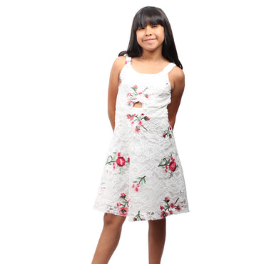 Girls Story - White Sleeveless Floral Embroidered Knee High Girls Dress | Girl Story | Girls Dress