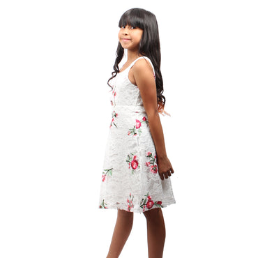 Girls Story - White Sleeveless Floral Embroidered Knee High Girls Dress - W.A.Y