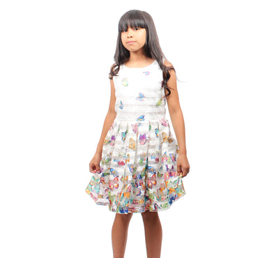 Girls Story - White Sleeveless Butterfly Printed Knee High Girls Dress - W.A.Y