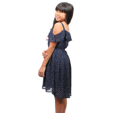 Girls Story - Navy Sleeveless Over-the-Shoulder Polka Dot Knee High Girls Dress - W.A.Y