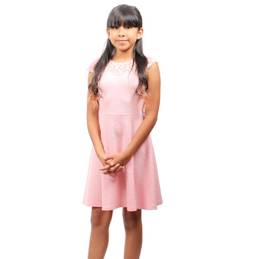 Girl Story - Pink Short Sleeve Strech Detailed Neck Line Knee High Girls Dress - W.A.Y