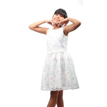 Girl Story- White Sleeveless Tutu Floral Embroidered Knee High Girls Dress - W.A.Y