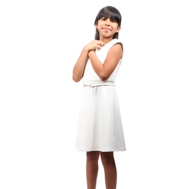 Girl Story - White Short Sleeve Stretch Detailed Neck Line Knee High Girls Dress - W.A.Y
