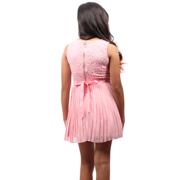 Girl Story - Pink Sleeveless Short Floral Lace Pattern Top With Bow-tie Back Girls Dress - W.A.Y