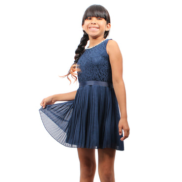 Girl Story - Navy Blue Sleeveless Short Floral Lace Pattern Top With Bow-tie Back Girls Dress - W.A.Y