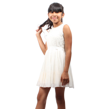 Girl Story - White Sleeveless Short Floral Lace Pattern Top With Bow-tie Back Girls Dress - W.A.Y