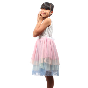 Girl Story - White Sleeveless W/ Rainbow Tutu Bottom Split Girls Dress - W.A.Y