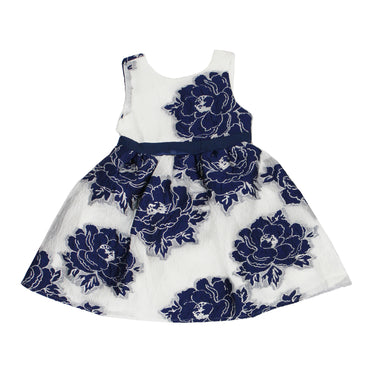 Girl Story - White With Blue Large Rose Stitch Design Back Zipper Girls Dress - W.A.Y