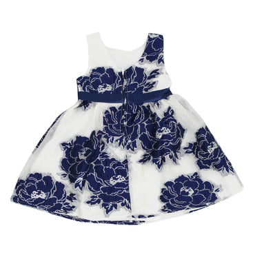 Girl Story - White With Blue Large Rose Stitch Design Back Zipper Girls Dress | Girl Story | Girls Dress