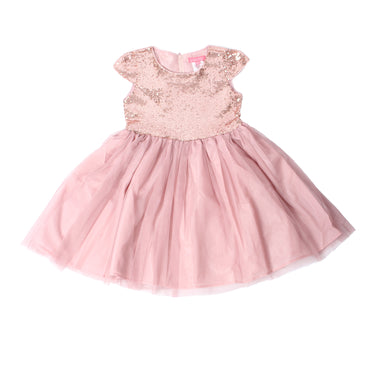 Girl Story - Pink Short Sleeve Shiny Sequin Girls Toddler Dress - W.A.Y