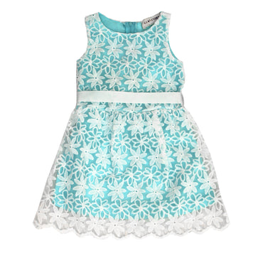 Girl Story - Aqua Blue Sleeveless Floral Design with Back Bow-tie - W.A.Y